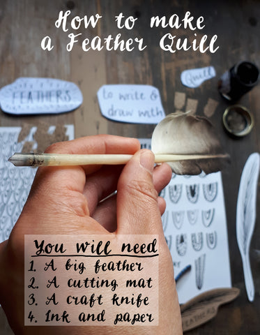 what you need to make a quill pen from a feather