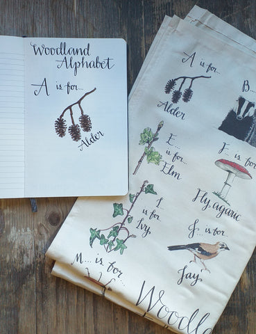 Woodland Alphabet by Alice Draws The Line from sketchbook to product