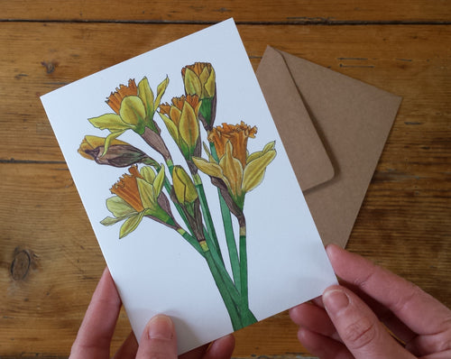 Daffodil Greeting card by Alice Draws the Line, recycled card mother's day