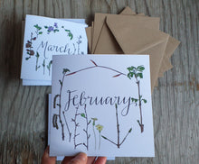 Load image into Gallery viewer, botanical calendar cards by Alice Draws The Line, recycled card, blank inside