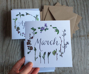 Set of 12 Calendar Cards, Botanical cards for each month of the year