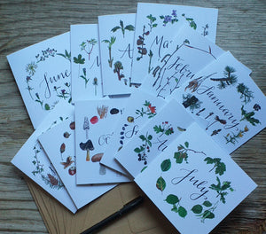 botanical calendar cards by Alice Draws The Line, recycled card, blank inside