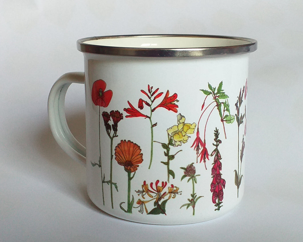 Rainbow Flowers enamel mug by Alice Draws The Line Mother's day gift, enamel mug
