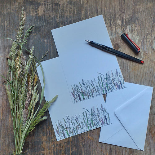 Meadow Grasses letterpaper by Alice Draws The Line, A5 recycled paper