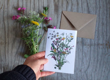 Load image into Gallery viewer, Spring Wildflowers bouquet by Alice Draws The Line, blank inside and printed on recycled card