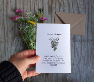 Spring Wildflowers bouquet by Alice Draws The Line, blank inside and printed on recycled card