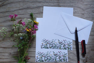 Spring Wildflowers letter paper by Alice Draws The Line, A5 letter paper printed on recycled paper with white recycled envelope