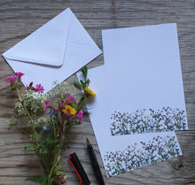 Load image into Gallery viewer, Spring Wildflowers letter paper by Alice Draws The Line, A5 letter paper printed on recycled paper with white recycled envelope