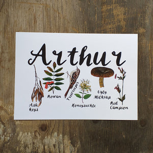 Woodland Alphabet Name Print with flora and fauna illustrations for each letter of the name, birth print, name print, nursery print, christening gift,