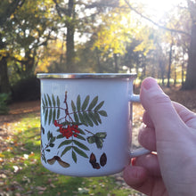 Load image into Gallery viewer, Autumn enamel mug by Alice Draws The Line, forest gift, enamel mug with Autumn / fall fruits, seeds and nuts