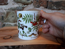 Load image into Gallery viewer, Autumn / Fall China mug by Alice Draws The Line. This is the Autumn / Tree-mendous design with lots of woodland fruit, nuts and seeds.
