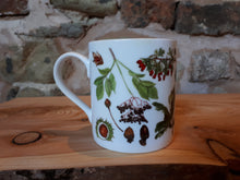 Load image into Gallery viewer, Autumn China mug by Alice Draws The Line, forest gift, enamel mug with Autumn / fall fruits, seeds and nuts