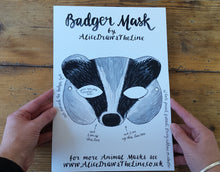 Load image into Gallery viewer, Printable badger mask by Alice Draws the Line, download and make at home