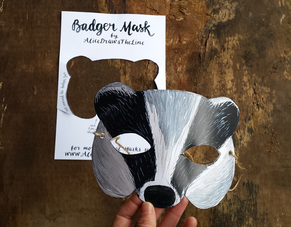 Printable badger mask by Alice Draws the Line, download and make at home
