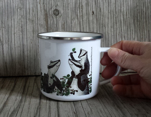 Badgers picking Blackberries enamel mug by Alice Draws the Line