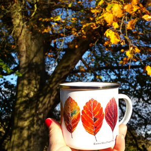 Beech Leaves Enamel Mug Design, Fall Leaves