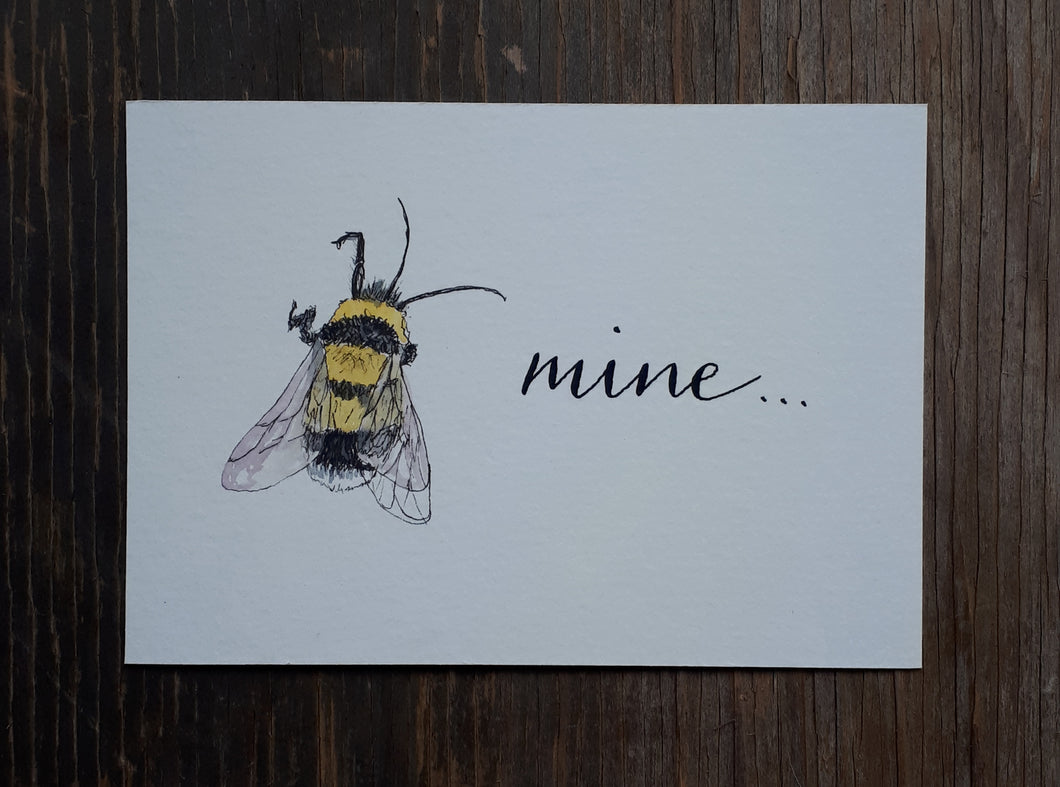 Bee Mine valentines original by Alice Draws the Line