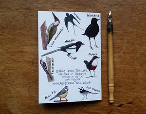Garden Birds Notebook by Alice Draws The Line, A6 with 36 plain pages, recycled paper