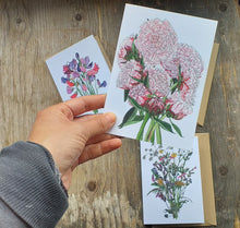 Load image into Gallery viewer, Botanical Bouquet card collection by Alice Draws the Line, set of 3 floral greeting cards, blank inside