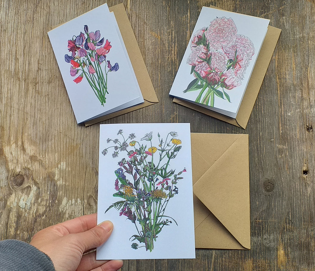 Botanical Bouquet card collection by Alice Draws the Line, set of 3 floral greeting cards, blank inside