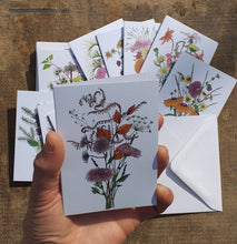 Load image into Gallery viewer, Set of 12 notelets by Alice Draws the Line, illustrated bouquets for each month of the year