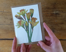 Load image into Gallery viewer, Daffodils card by Alice Draws the Line, recycled card mother's day card, easter card