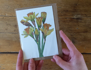 Daffodils card by Alice Draws the Line, recycled card mother's day card, easter card