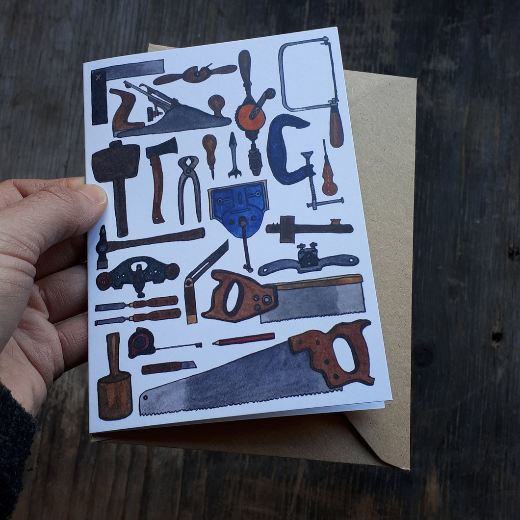 Carpentry card by Alice Draws the Line, Traditional hand tools for woodworking and cabinet making