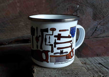 Load image into Gallery viewer, Carpentry Cup by Alice Draws the Line, Traditional woodworking tools on an enamel mug