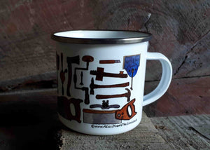 Carpentry Cup by Alice Draws the Line, Traditional woodworking tools on an enamel mug