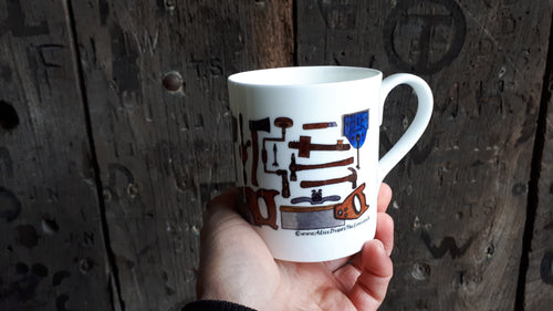 Carpentry Cup by Alice Draws the Line, Traditional woodworking tools on a china mug