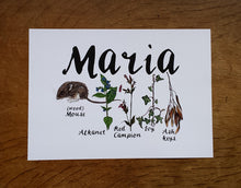 Load image into Gallery viewer, Woodland Alphabet Name Print with flora and fauna illustrations for each letter of the name, birth print, name print, nursery print, christening gift,