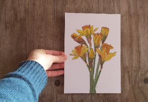 Daffodil print by Alice Draws The Line, botanical illustration art print of a bunch of daffodils