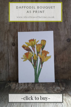 Load image into Gallery viewer, Daffodil print by Alice Draws The Line, botanical illustration art print of a bunch of daffodils