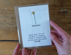 Daffodil Greeting card by Alice Draws the Line, recycled card Easter day