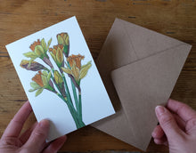 Load image into Gallery viewer, Daffodil illustrations Greeting card by Alice Draws the Line, recycled card mother's day