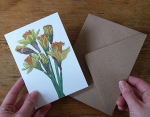 Daffodil illustrations Greeting card by Alice Draws the Line, recycled card mother's day