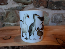 Load image into Gallery viewer, Ducks mug by Alice Draws the Line, a range of pond visitors on a China mug