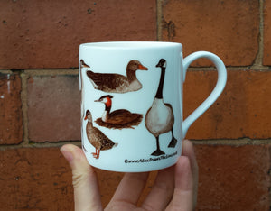 Ducks mug by Alice Draws the Line, a range of pond visitors on a China mug