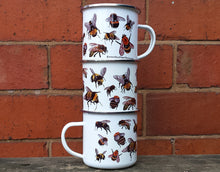 Load image into Gallery viewer, Bee enamel mug by Alice Draws The Line bees mug