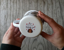Load image into Gallery viewer, Hedgehogs Juggling Rosehips enamel mug by Alice Draws the Line