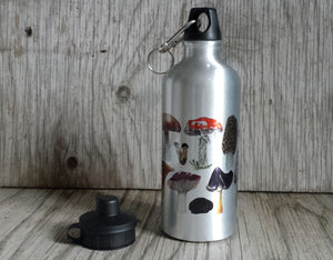 Fungi Water bottle by Alice Draws The Line, illustrated water bottle, mushroom water bottle,