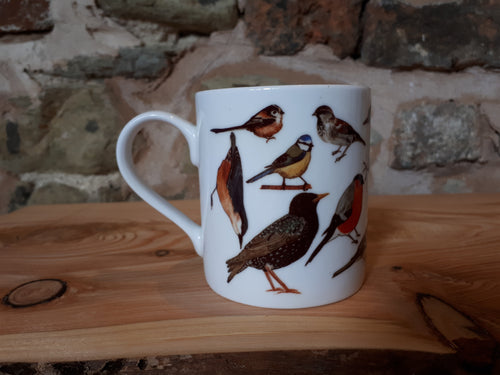 Garden birds China mug by Alice Draws The Line, feathered friends you might find in a garden in the UK