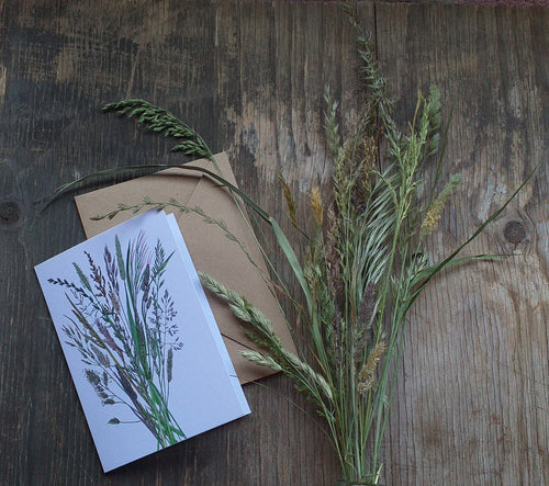Grasses Greeting card by Alice Draws The Line, a bouquet of meadow gasses printed on recycled card