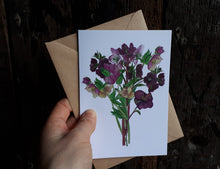 Load image into Gallery viewer, Hellebore bouquet card by Alice Draws the Line, Hellebores greeting card, blank inside, mother's day card, birthday card, wedding card, bereavement card,