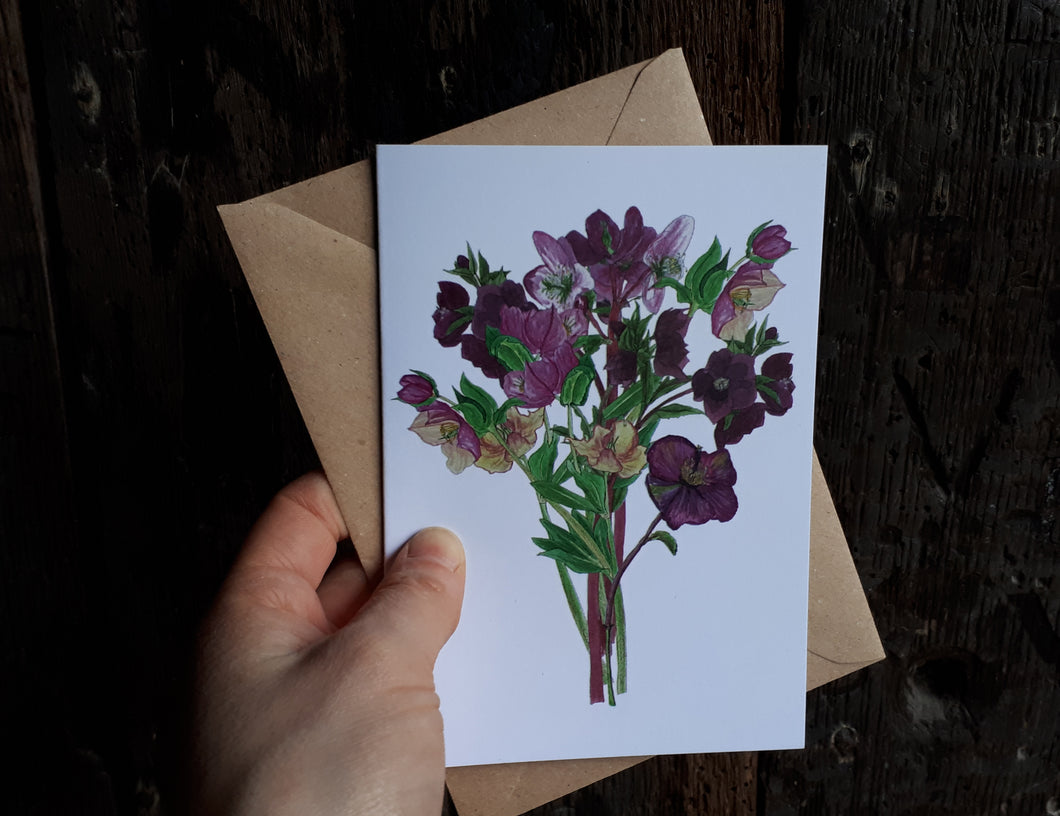 Hellebore bouquet card by Alice Draws the Line, Hellebores greeting card, blank inside, mother's day card, birthday card, wedding card, bereavement card,