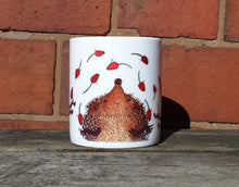 Load image into Gallery viewer, Hedgehogs Juggling Rosehips China Mug