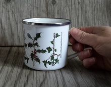Load image into Gallery viewer, Holly and Ivy enamel mug by Alice Draws The Line, Christmas cup