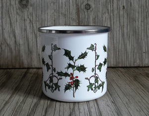 Holly and Ivy enamel mug by Alice Draws The Line, Christmas cup