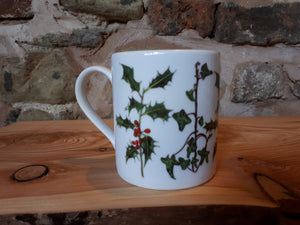 Holly and Ivy China mug by Alice Draws The Line